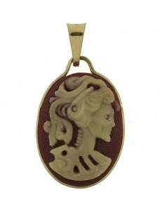 Ciondolo Pendente Oro Giallo 18 Kt Carati Ct 750 Gr 1,10 Cameo Cammeo Gotico