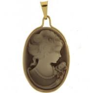 Ciondolo Pendente Donna Oro Giallo 18 Kt Carati Ct 750 Gr 1,50 Cameo