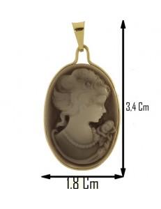 PENDENTE CAMEO - Donna Oro Giallo 18 Kt Carati Ct 750
