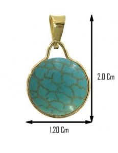 PENDENTE CABOCHON TURCHESE ROTONDO - Donna  Oro Giallo 18 Kt Carati Ct 750