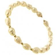 Bracciale Braccialetto Donna Perle Barocche Oro Giallo 18 Kt Carati Ct 750