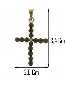 PENDENTE CROCE ONICE -  Uomo Donna Oro Giallo  18 Kt Carati 750