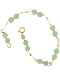 Bracciale Braccialetto Amazonite Donna Oro Giallo 18 Kt Carati Ct 750