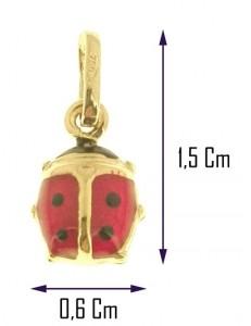 COLLANE ORO GIALLO - Collana Catenina Pendente Coccinella Donna Oro Giallo 18 Kt Carati Ct 750 1,10Gr