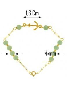 Bracciale Braccialetto Bimbo Bambino Amazonite Oro Giallo 18 Kt Carati Ct 750
