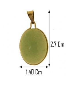 PENDENTE AGATA VERDE - Donna  Oro Giallo 18 Kt Carati Ct 750