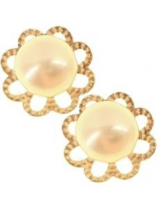 Orecchini Perle Donna Oro Giallo 18 Kt Carati Ct 750 1,35 Gr
