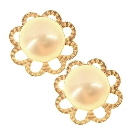 ORECCHINI ORO GIALLO - Orecchini Perle Donna Oro Giallo 18 Kt Carati Ct 750 1,35 Gr