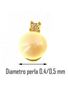 ORECCHINI ORO GIALLO - Orecchini Perle Punto Luce Donna Oro Giallo 18 Kt Carati Ct 750 1,15 Gr