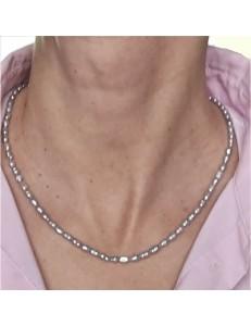 Collana Girocollo Donna 47 Cm Perle Barocche Grigie Oro Giallo 18 Kt Carati Ct 750