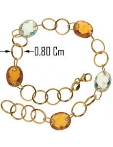 BRACCIALI DONNA - Bracciale Braccialetto Donna Oro Giallo 18 Kt Carati Ct 750 4,40 Gr