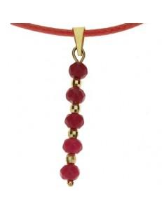 Collana Ciondolo Pendente Con Rubini Donna Oro Giallo 18 Kt Carati Ct 750