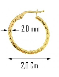 ORECCHINI CERCHIO GIALLI - Orecchini Torchon Donna Cerchio Cerchi Oro Giallo 18 kt Carati Ct 750 1,45 Gr