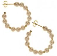 Orecchini Perle Cerchio Cerchi Donna Oro Giallo 18 Kt Carati Ct 750 Gr 3,00
