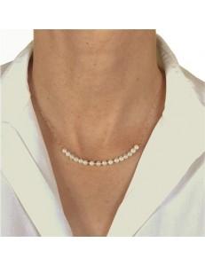 Collana Catenina Perle  Girocollo Oro Giallo 18 Kt Carati Ct 750 2,50 Gr  Donna 47Cm