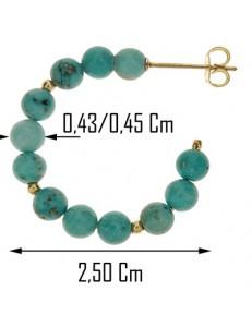 Orecchini Turchese Cerchio Cerchi Donna Oro Giallo 18 Kt Carati Ct 750 Gr 3,50