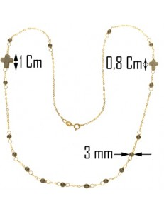 Collana Catena 50 Cm Rosario Uomo Donna Oro Giallo 18 KT Carati Ct 750 2,7 gr