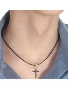 Collana Ciondolo Pendente  Croce Uomo Donna Oro Giallo 18 Kt Carati Ct 750 0,7 Gr