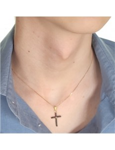 Collana Catenina 45 cm Croce Uomo Donna Oro Giallo 18 kt Carati Ct 750 1,40 Gr