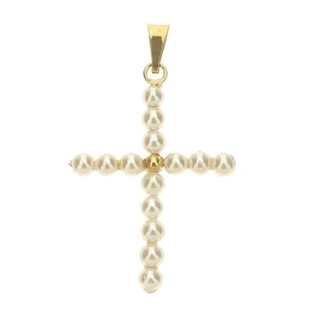 Ciondolo Pendente Croce Perle Donna Oro Giallo  18 Kt Carati 750 0,95 Gr