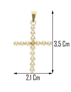 Collana Catenina Pendente Croce Perle  Donna Oro Giallo 18 kt Carati Ct 750