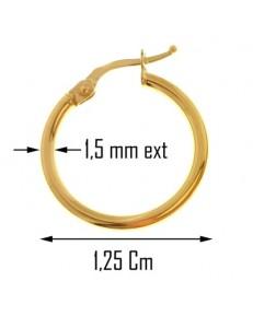 ORECCHINI CERCHIO MARTELLATI - Oro Giallo 18 kt Carati Ct 750 Donna Bambina