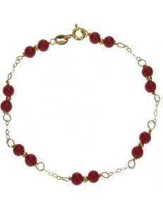 BRACCIALI DONNA - Bracciale Braccialetto Donna Corallo Rosso Oro Giallo 18 Kt Carati Ct 750