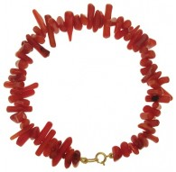 Bracciale Braccialetto Donna Corallo Rosso Oro Giallo 18 Kt Carati Ct 750 12 Gr